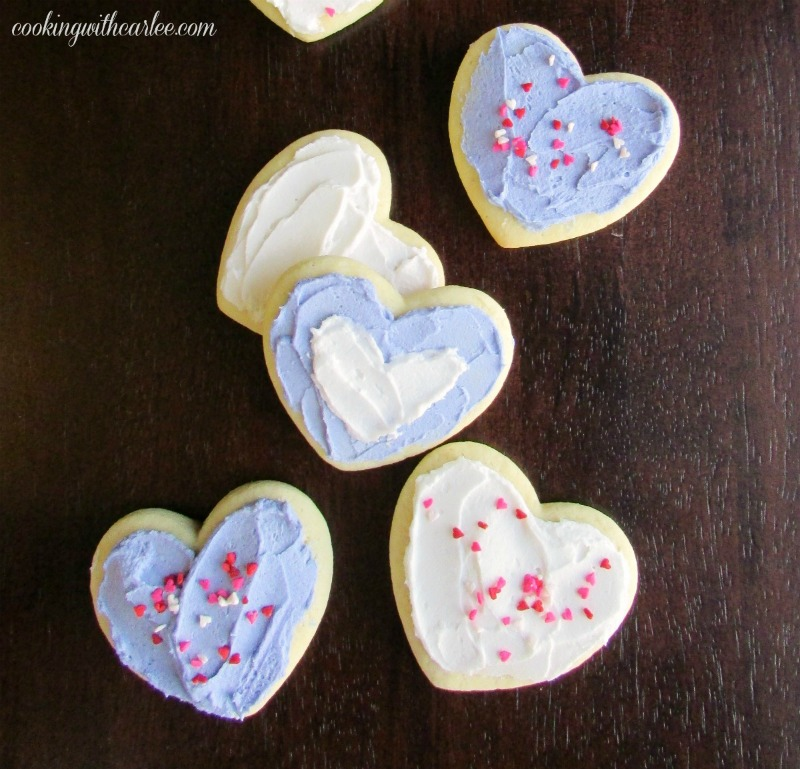 heart shaped sour cream cookies with buttercream frosting