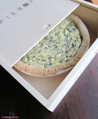 spinach pie in box ready to be transported