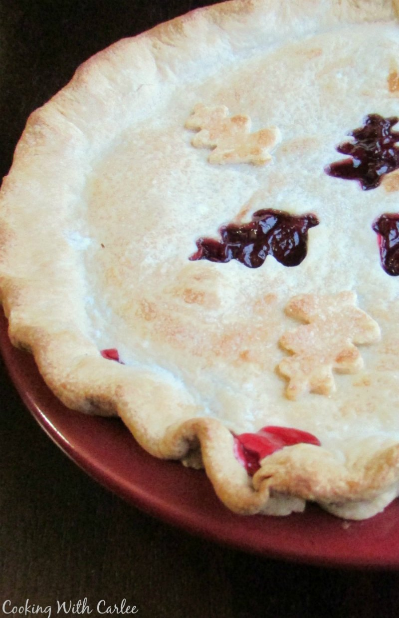 close up of cherry pie fresh from the oven
