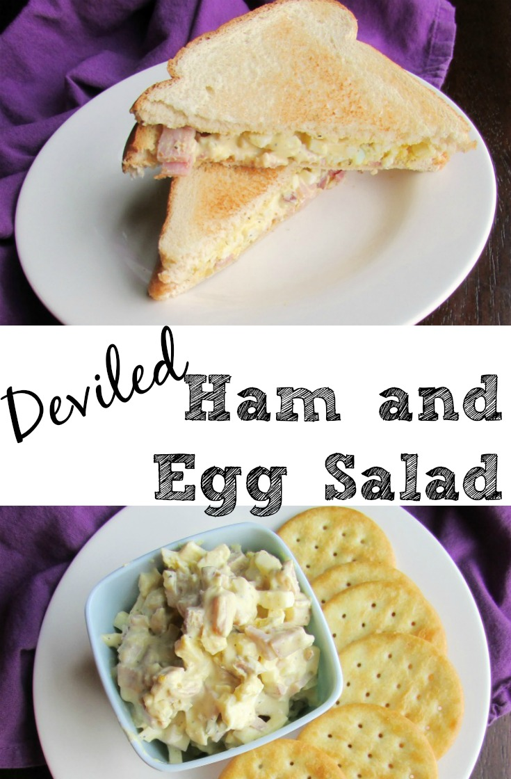 What to do with all the ham and hard boiled eggs leftover from Easter? Make this salad! It is great on crackers and makes the perfect sandwiches. It's based on our favorite deviled egg recipe and is the best if both worlds!