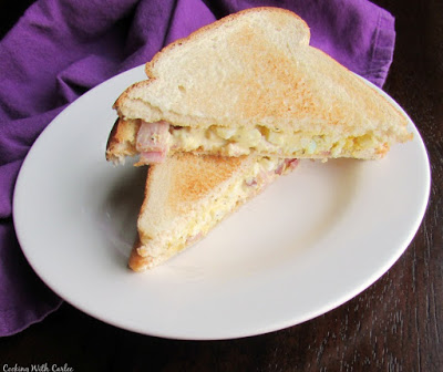 ham and egg salad sandwich on toast