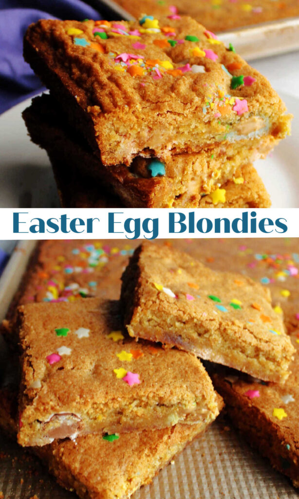 Blondies are the brown sugar and vanilla cousin to blondies.  This recipe is perfect for your Easter crowd. They are filled with fun candies and topped with sprinkles. The batter comes together really quickly and your friends and family will love them!
