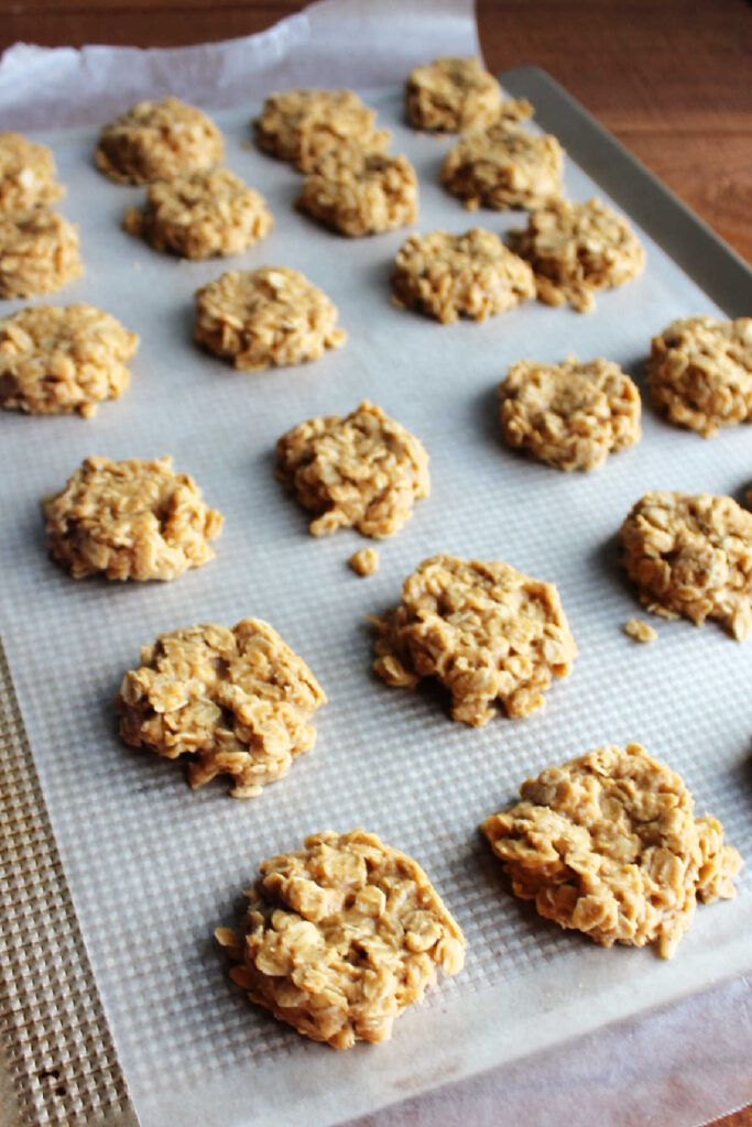 Tray of no bake peanut butter cookies setting up.