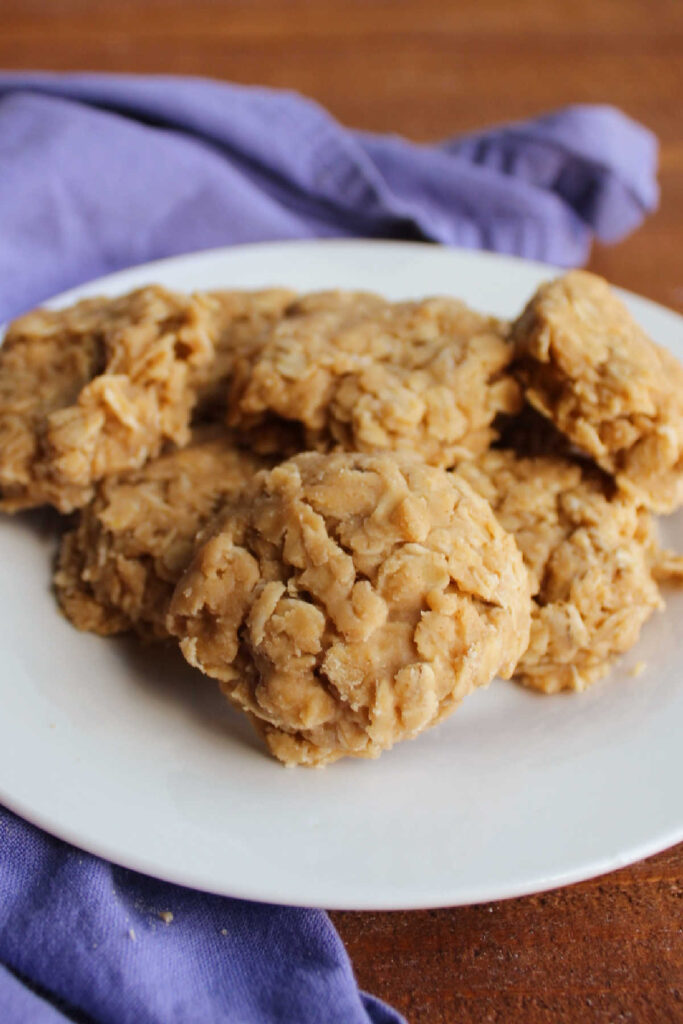 Small plate of no bake peanut butter cookies with oatmeal ready to eat.