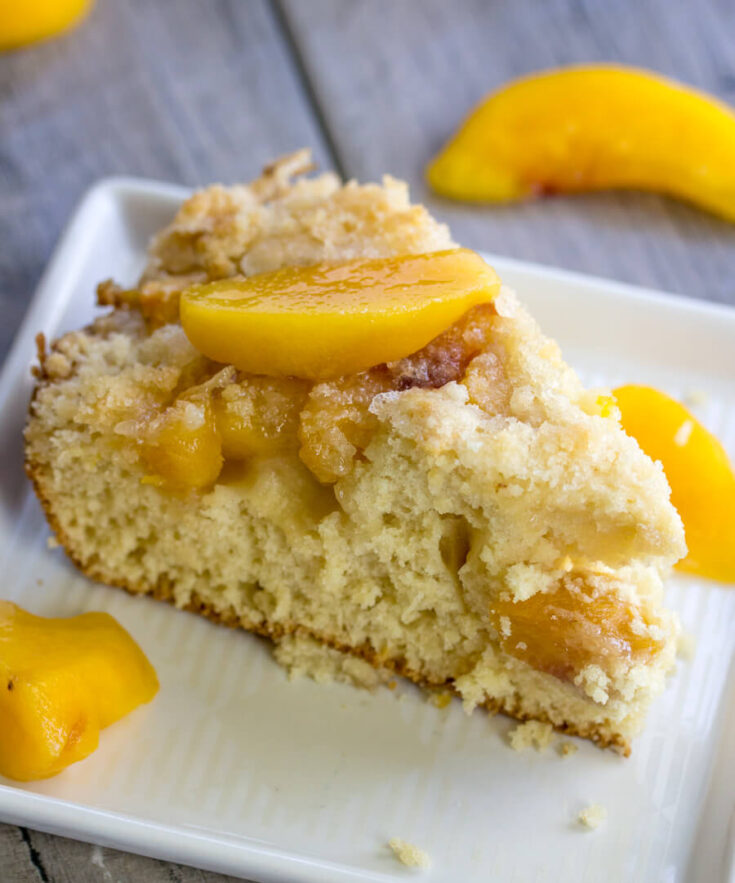 slice of peach coffee cake on plate