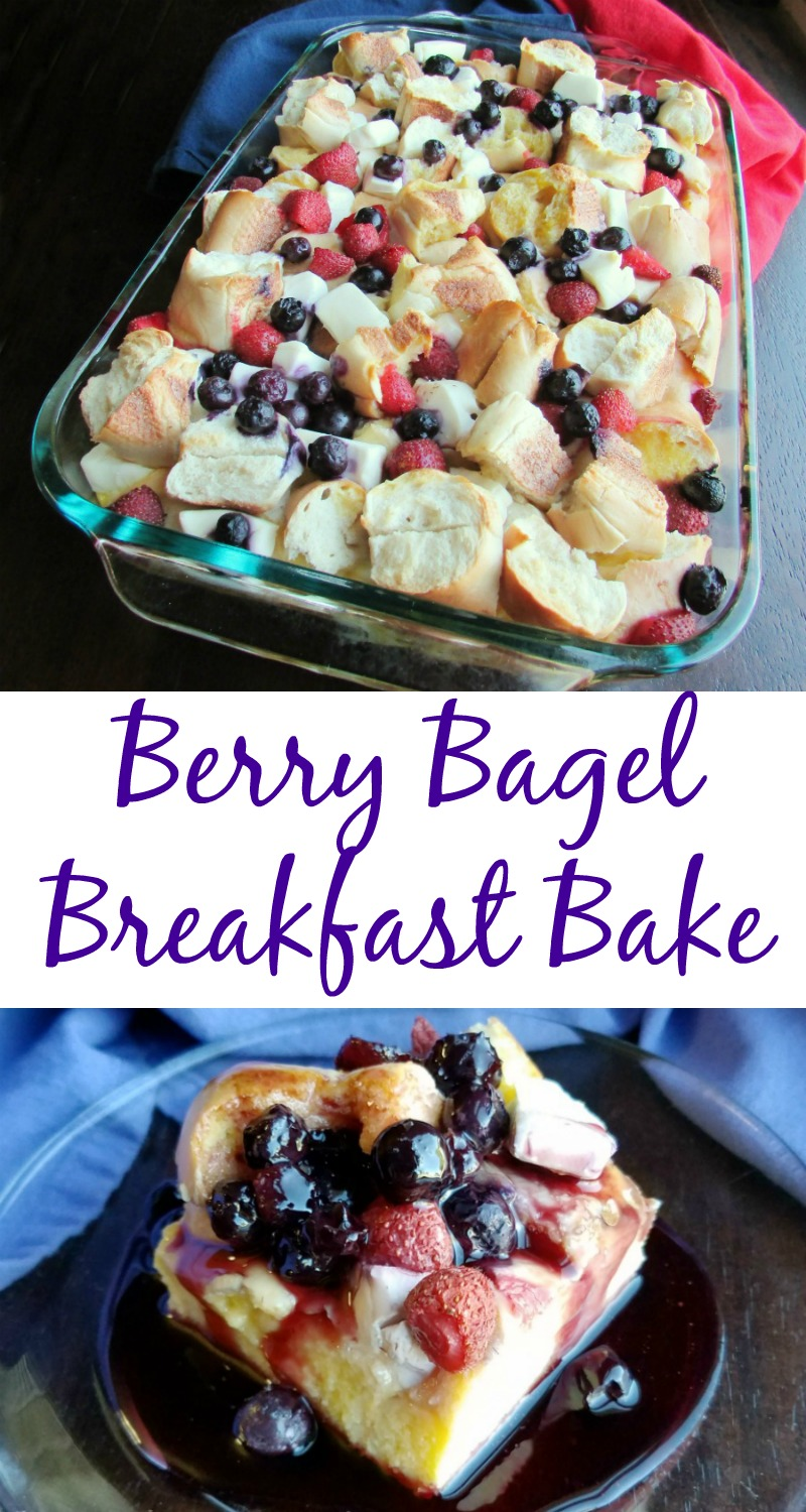 This is a great weekend breakfast or weeknight brinner. Bagels, cream cheese and berries are a match made in heaven. Whipping up a little berry syrup takes it to the next level!