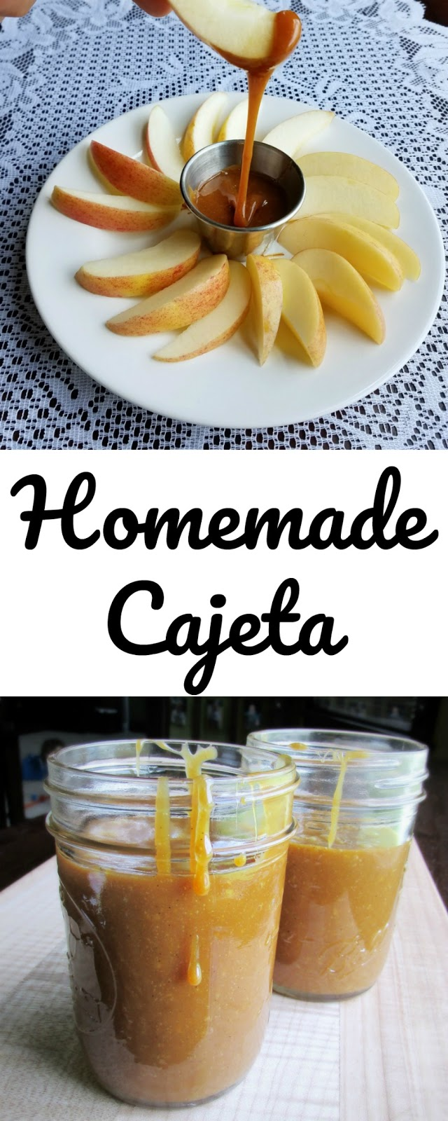This Cajeta is liquid gold. It is thick, sweet and caramely. It is great over ice cream, pound cake, as a dip for apples or on a spoon! It is made with goat's milk for the full flavor, but this recipe could be easily made with cow's milk as well!