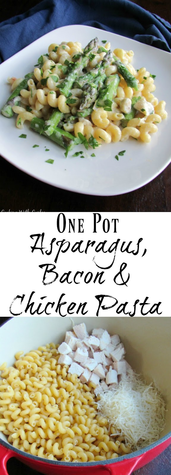 This complete dinner comes together in one pot in under a half hour! Chicken, bacon, and asparagus in a creamy pasta with almost no dishes to do!