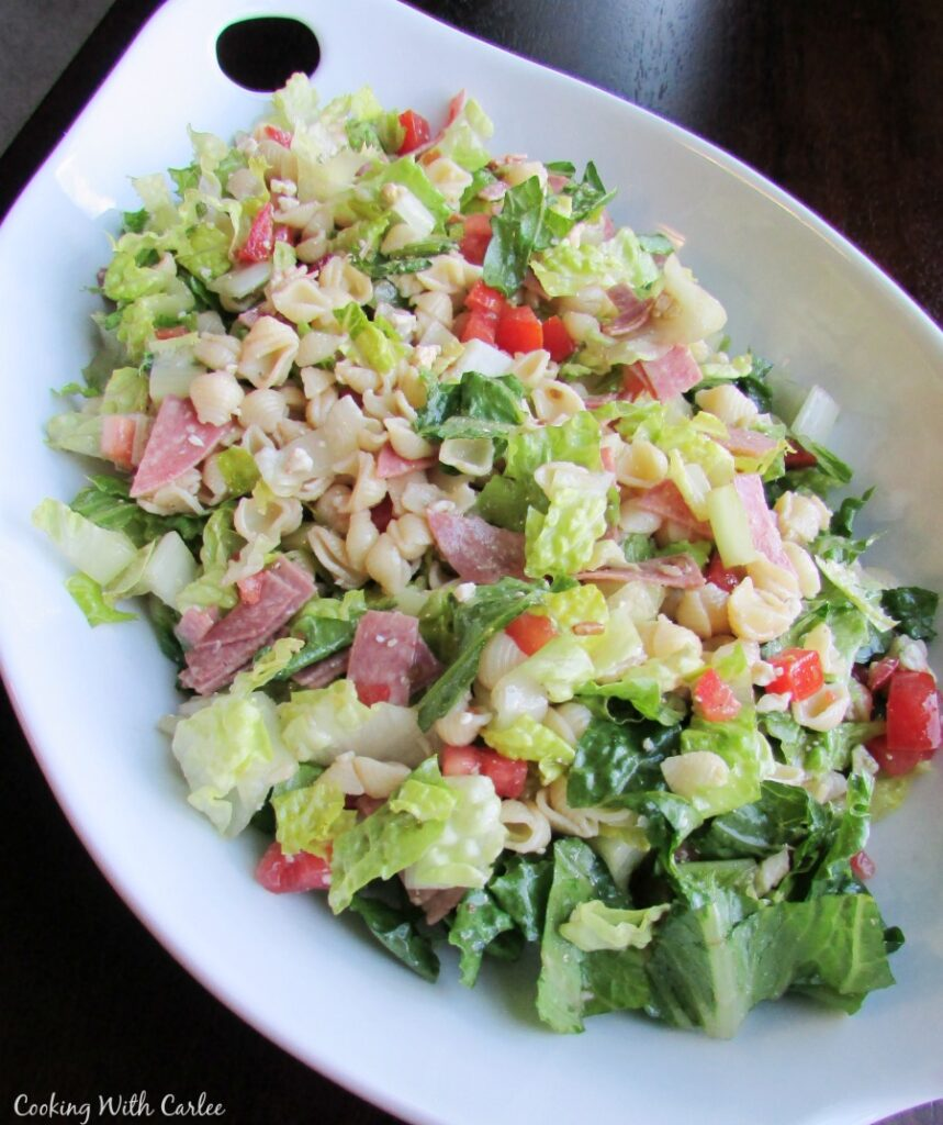 platter of tossed Portillo's chopped salad ready to eat.