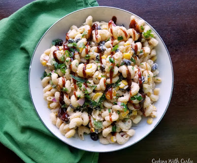 bowl of bbq macaroni salad ready to eat