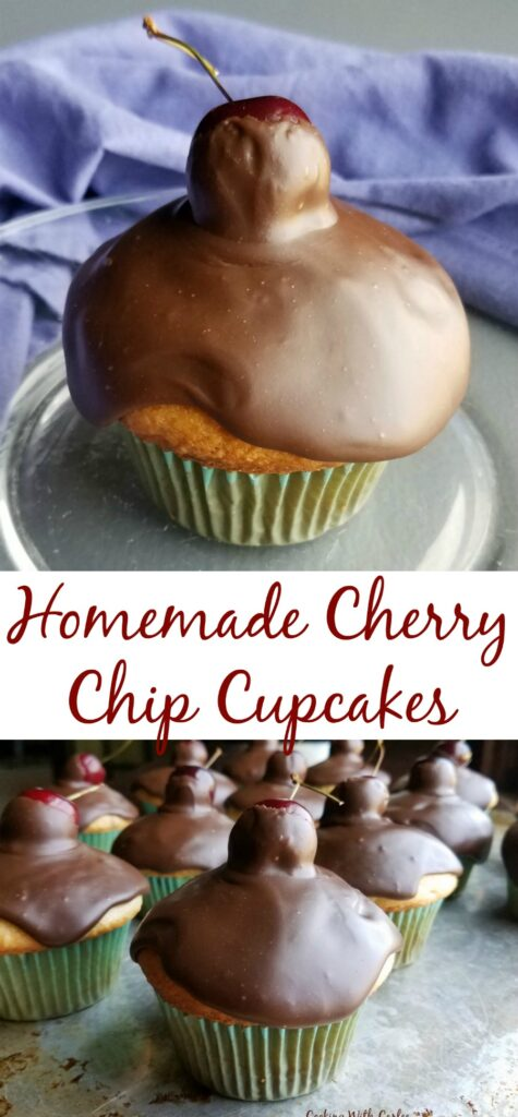 Delicious cherries and mini chocolate chips are nestled in a simple cake batter for a fun treat. Cupcakes topped with fudgy icing and loaded with cherries are hard to beat!
