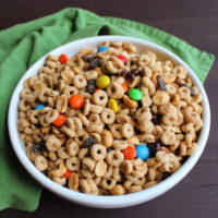 Serving bowl of gorp snack mix made with peanut butter and maple coated cheerios, raisins, peanuts and chocolate candies.