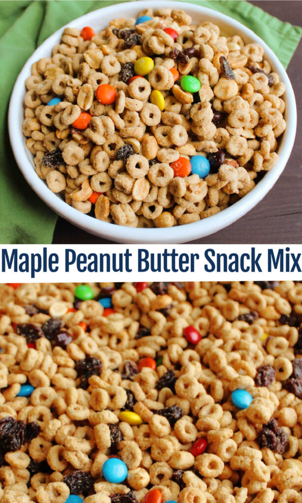 This peanut butter maple snack mix is a perfect after school treat, road trip snack or portable pick me up! It is full of flavor, texture and plenty of crunch.