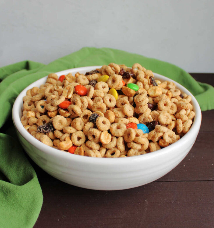 Bowl of trail mix style cereal snack mix.