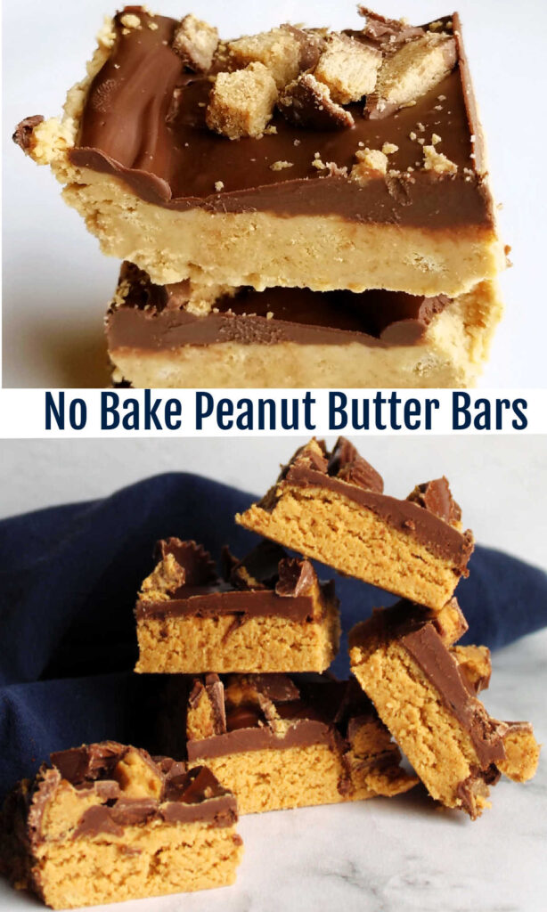 Peanut butter, graham crackers and chocolate come together in a fun no bake bar.  These fun treats are sure to get rave reviews everywhere you take them.  They are so easy to put together they are likely to become your new go to dessert!