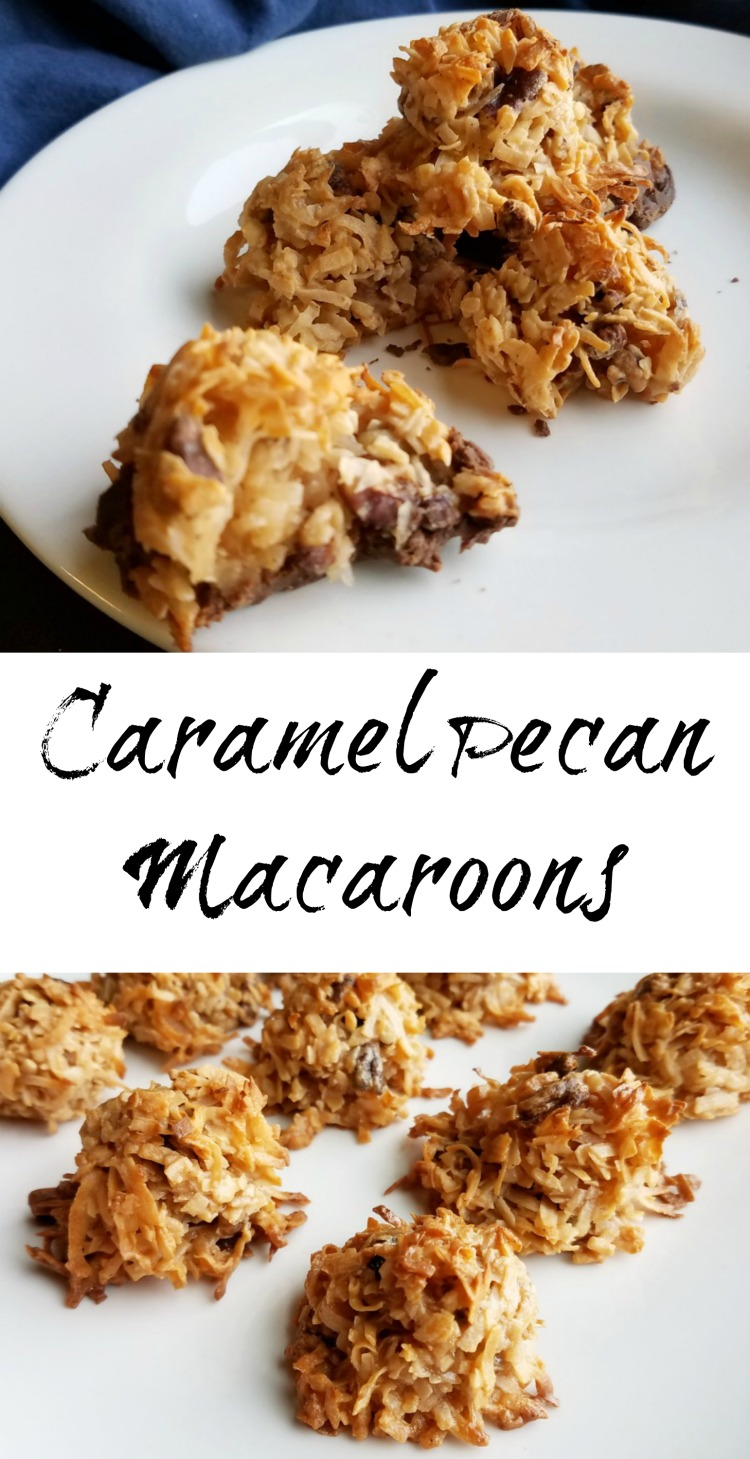 All it takes is three ingredients to make these fun caramel pecan macaroons. They are a bit caramelly candy and part coconut cookie. They are so fun!