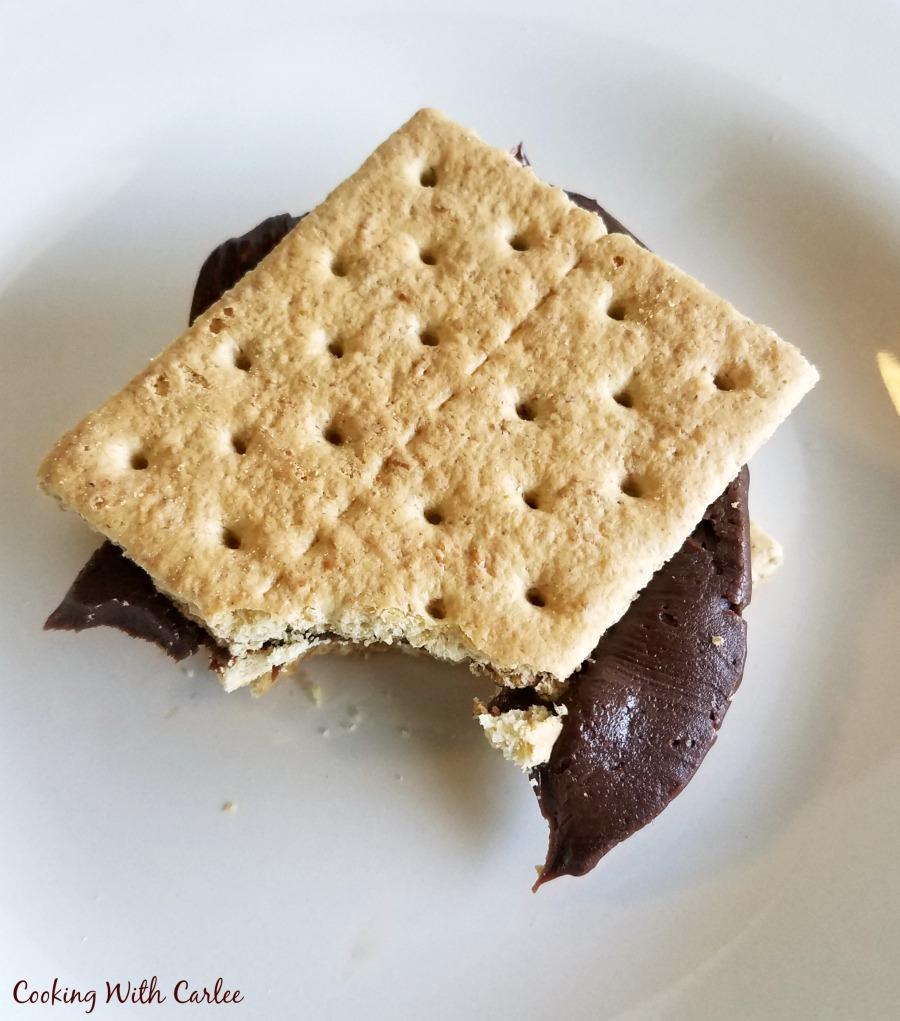 graham cracker sandwich with fudge frosting in between.