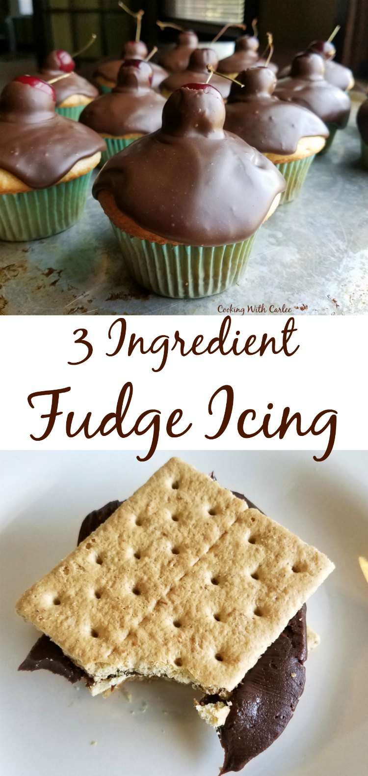 Made quickly in a saucepan and with only three ingredients, this icing is hard to beat! It is so fudgy and has a nice sheen.  Just whisk in a bit of powdered sugar to turn it into a really nice frosting as well!