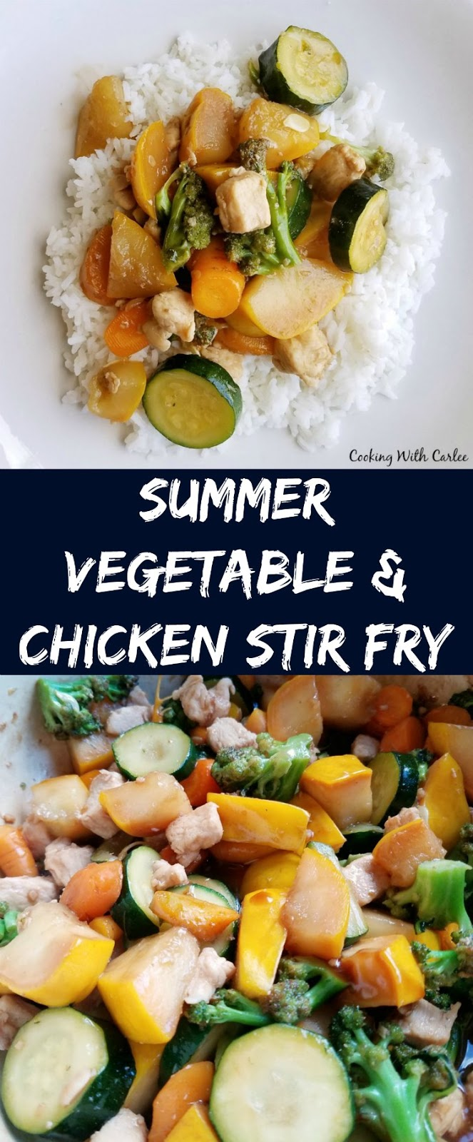 Summer vegetables and chicken are quickly cooked until tender crisp and then coated in a delicious stir fry sauce.  Dinner is ready by the time the rice is done cooking!