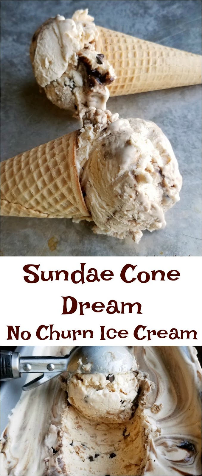 Super simple no churn ice cream sweetened with the goodness of dulce de leche and studded with bits of sugar cones, mini chocolate chips and a chocolate swirl. Make your sundae dreams come true with every bite!
