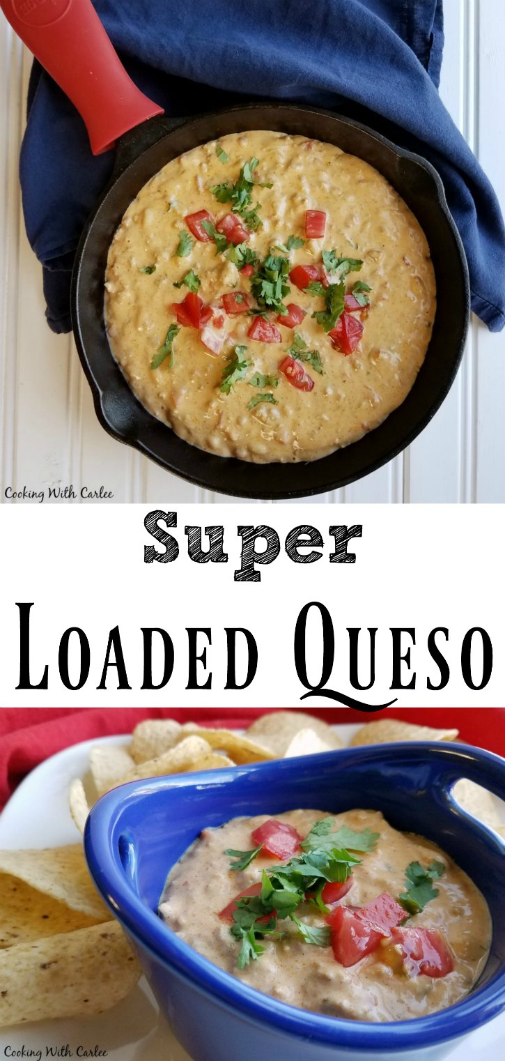 This super loaded queso is creamy, cheesy and loaded with meat, beans and flavor! It is perfect for tailgating, watching the game at home or family game night!