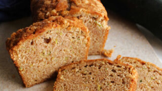 close up of slices of zucchini bread with cinnamon.
