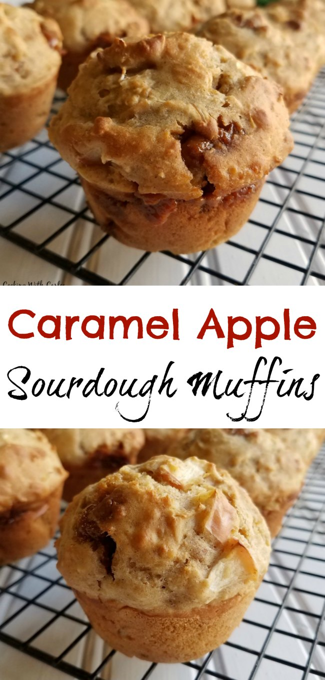 Take your sourdough and turn it into delicious muffins. These babies are loaded with fresh apples and bits of caramel. The best part is you can use sourdough starter from the fridge or discard. You'll love the balance of flavors, textures and just the right amount of sweet!