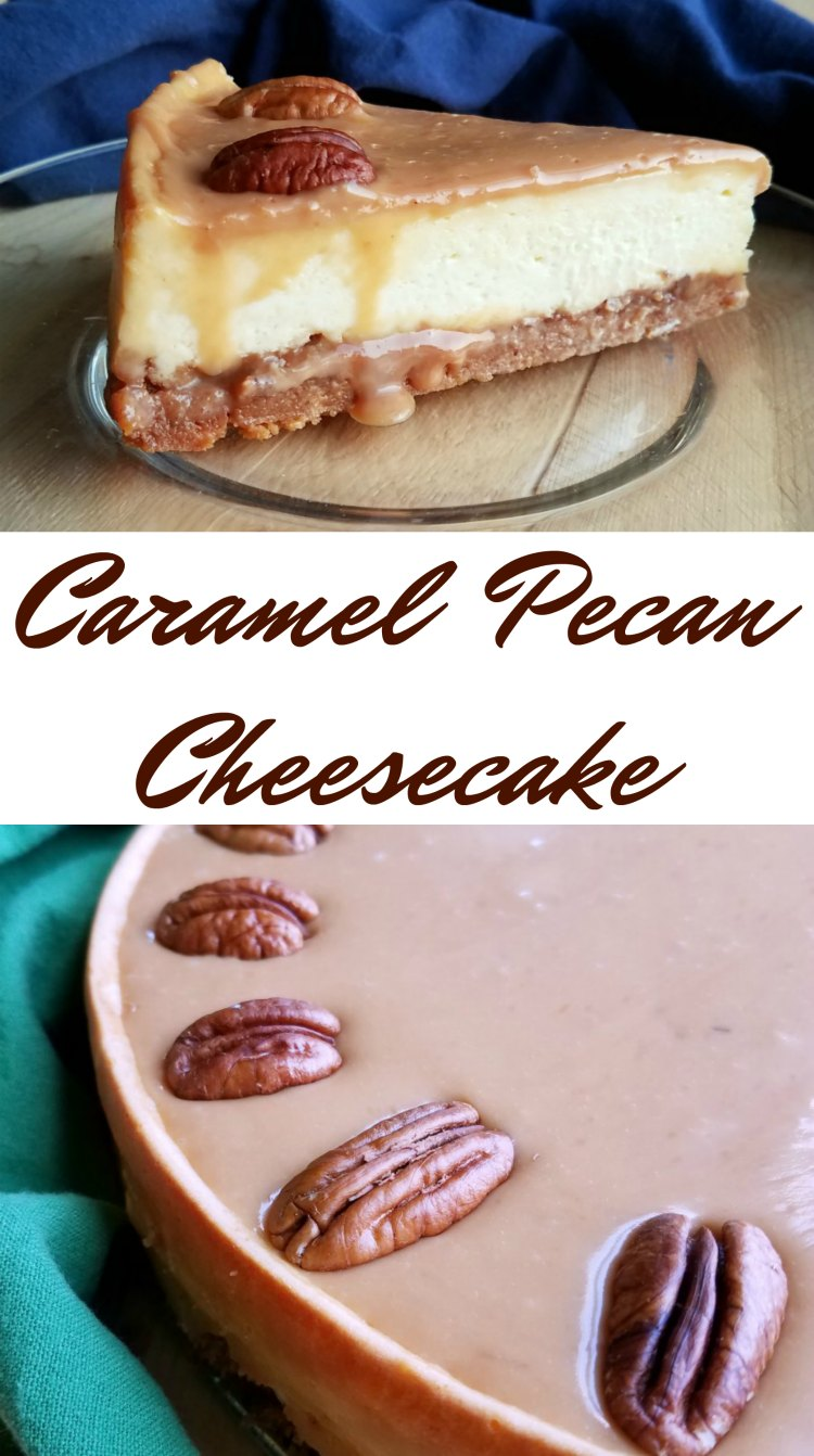 Rich and creamy cheesecake, sweet and gooey caramel, and toasty pecan come together for a one of a kind dessert experience. Perfect for dinner parties, birthday parties or a great addition to your Thanksgiving dessert table!