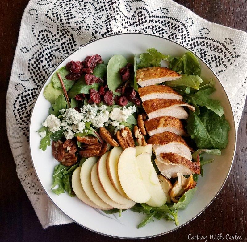 big bowl of fall dinner salad.