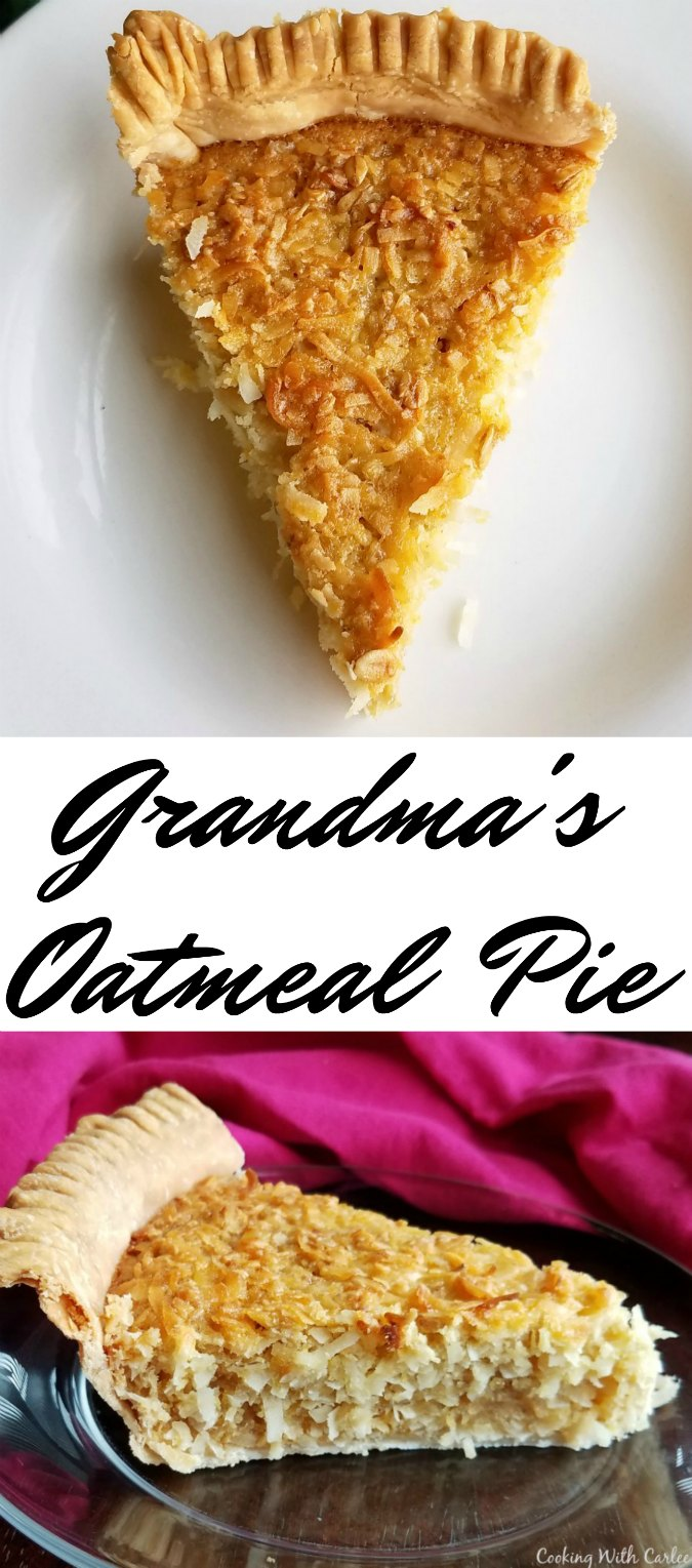 If you have not had an oatmeal pie, you have to try this! Even if you have, you have to give this particular recipe a try. A family friend's grandma tinkered with it until it was absolutely perfect. And you know grandmas know what they are doing in the kitchen.  The recipe makes two, so you are prepared when everyone wants a little more.  However it is easily cut in half if you just want one pie.
