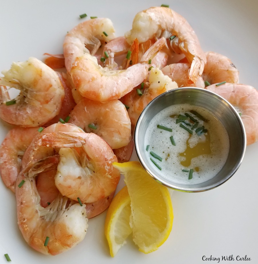 key lime roasted shrimp with lime butter dipping sauce ready to eat.