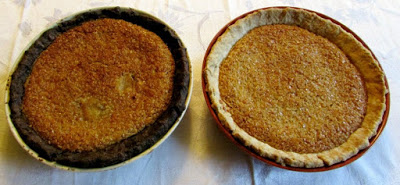 two oatmeal pies, one with classic crust, one with a chocolate pie crust