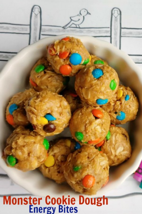 These easy energy bites are loaded with the good stuff.  They are tasty and quick to put together too.  They taste like monster cookie dough, but are safe to eat raw. Throw them in your lunch box, serve them as a fun after school snack or eat them after a workout.  You'll love having them around.