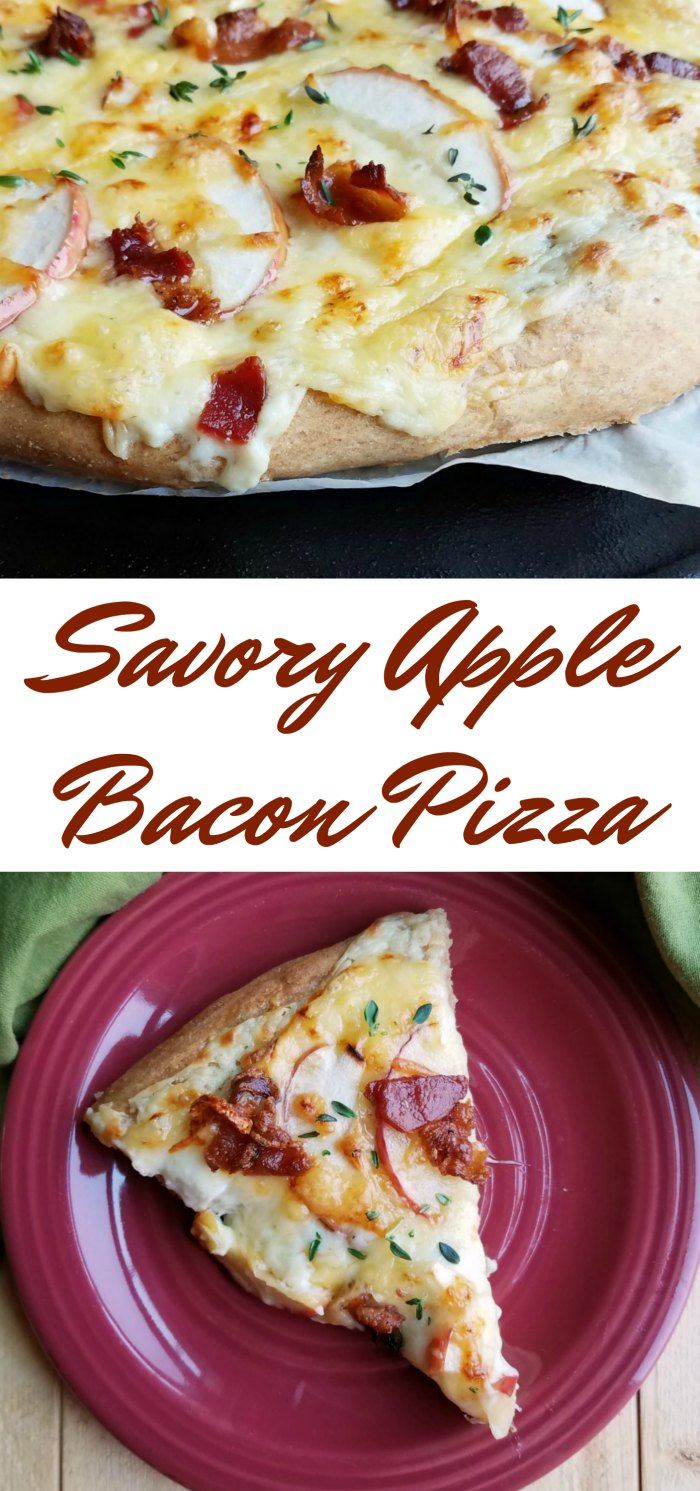 This pizza is loaded with delicious gooey cheese, bacon, apples and thyme. You will not believe how creamy and delicious it is, not to mention how good it smells!
