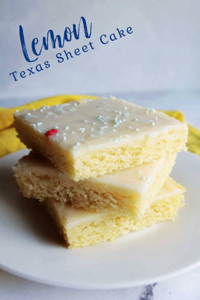 Lemon Texas sheet cake is perfect for feeding a tasty dessert to a crowd.  It is so easy to make and has just the right amount of lemon flavor. Take it to your next BBQ, family reunion or potluck!