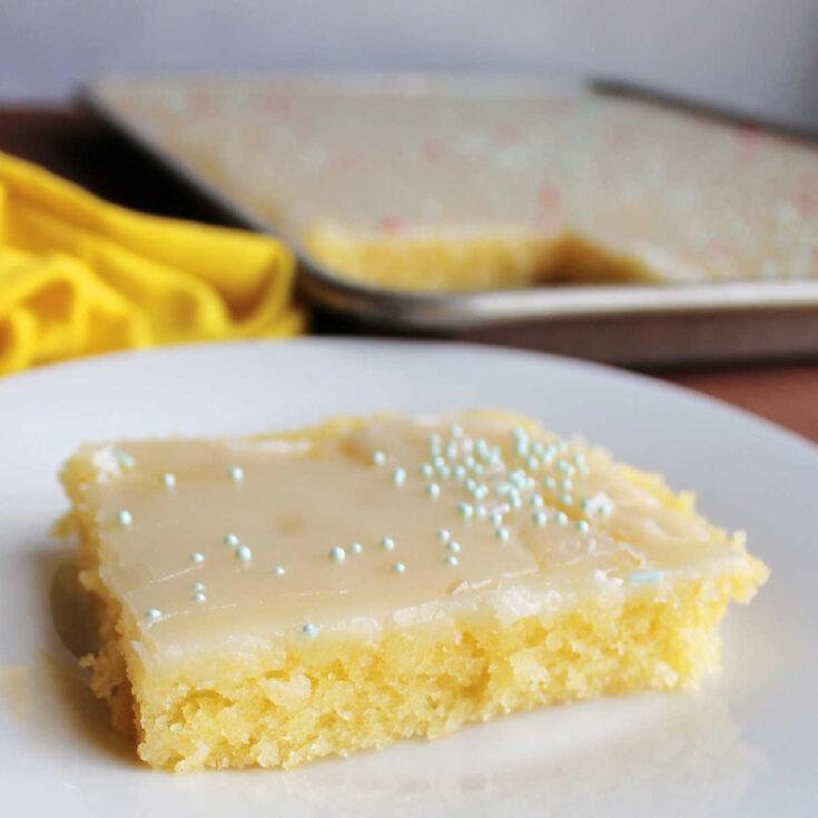 piece of lemon texas sheet cake