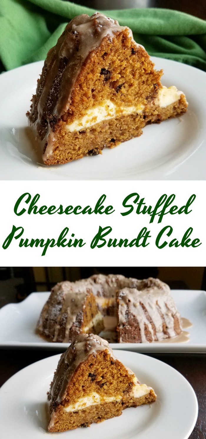 This slightly spiced pumpkin bundt cake is dotted with chocolate chips and stuffed with a cheesecake layer. Fall is here and it tastes good!