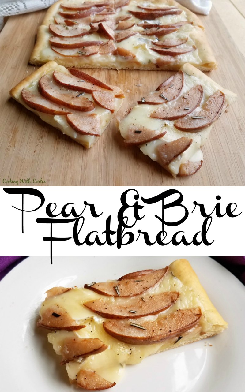 This sweet and savory appetizer is full of all the good stuff.  Pears, melty brie and fresh flatbread. It is quick, easy and oh so tasty!