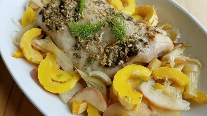 Roasted Pork with fennel apples and delicata squash