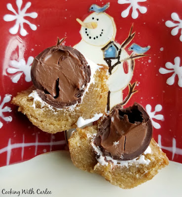 close up of inside of s'mores cookie cups with bite missing