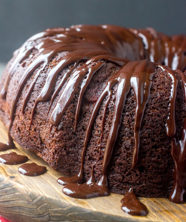 fudgy chocolate glaze over chocolate bundt cake