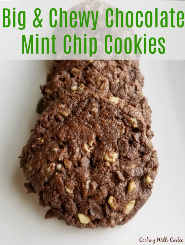 Chewy chocolate cookies packed completely full with chocolate and mint candy bits.  They are festive, easy and sure to please!