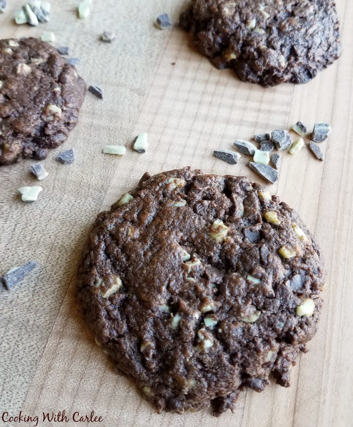 close up of large chocolaty cookies.