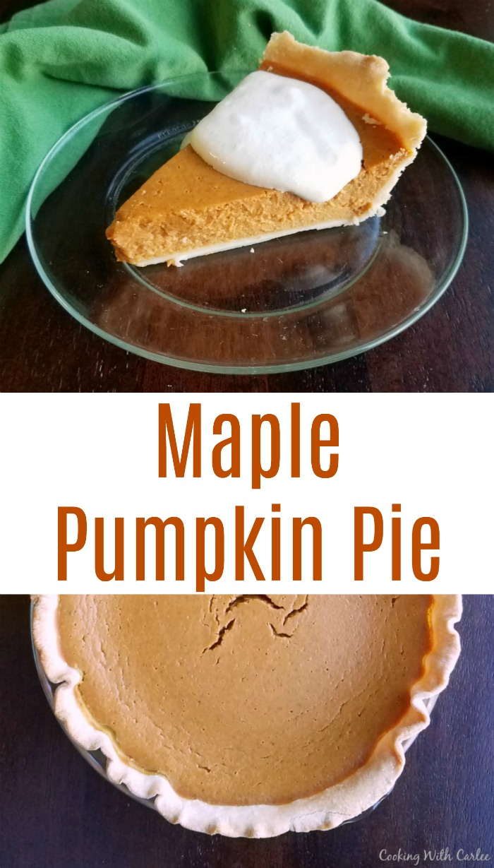 This pumpkin pie is kissed with a bit of maple flavor to heighten the warm sweet notes. Such a small change makes a big difference!