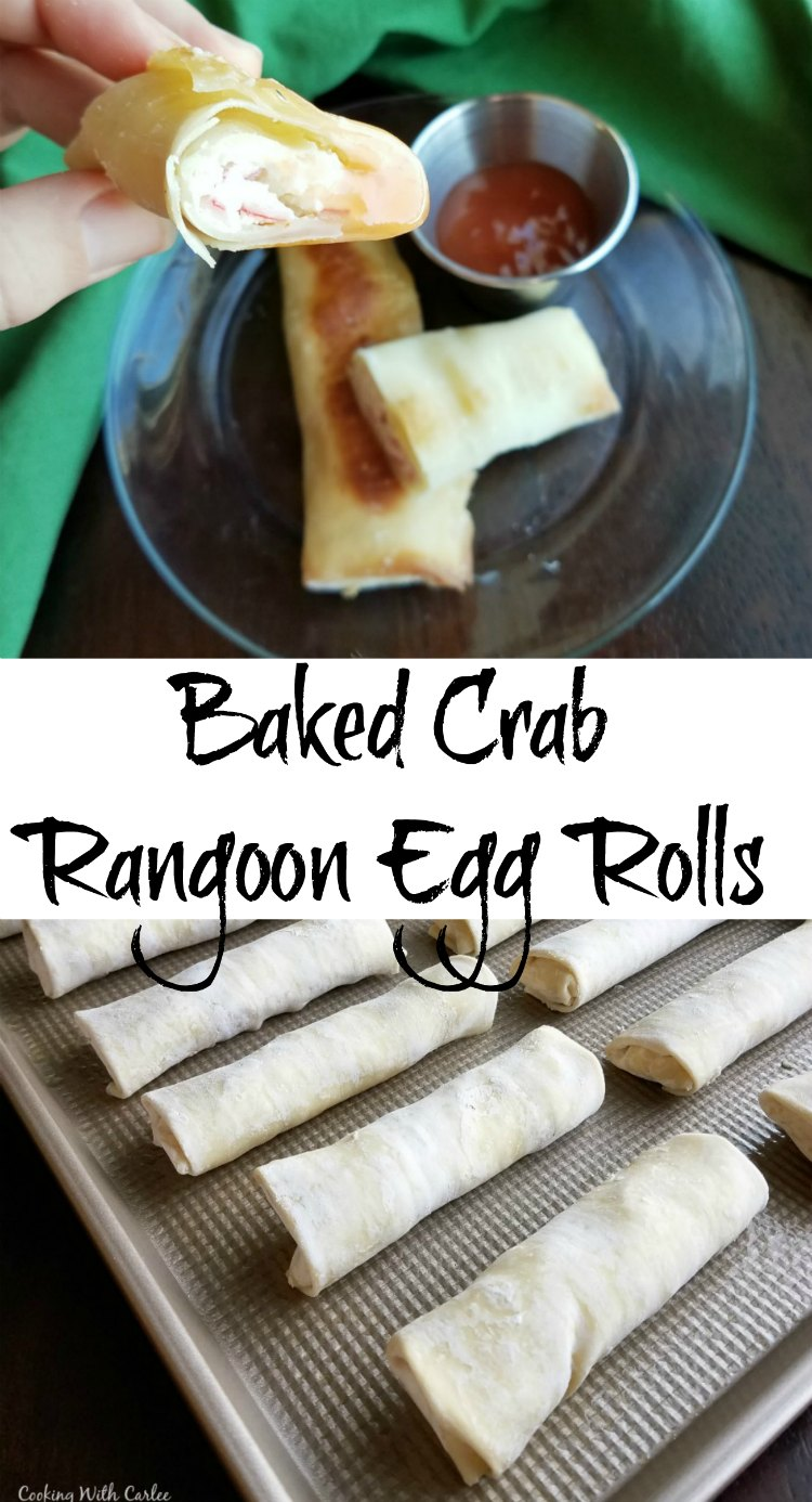 Enjoy the flavor of crab rangoon at home in a fun egg roll package, easily crisped in the oven! They are fun to make and perfect for parties.