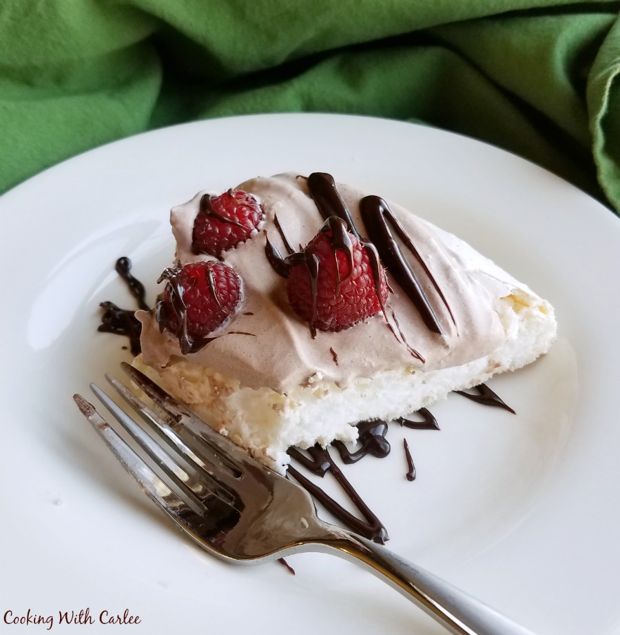 bite missing from piece of cocoa raspberry pavlova.