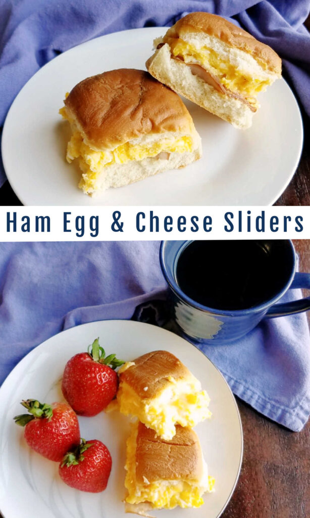 This is a great way to make a tray full of little breakfast sandwiches all at once. They are full of ham, eggs and melty cheese and the tops are golden and buttery. YUM!