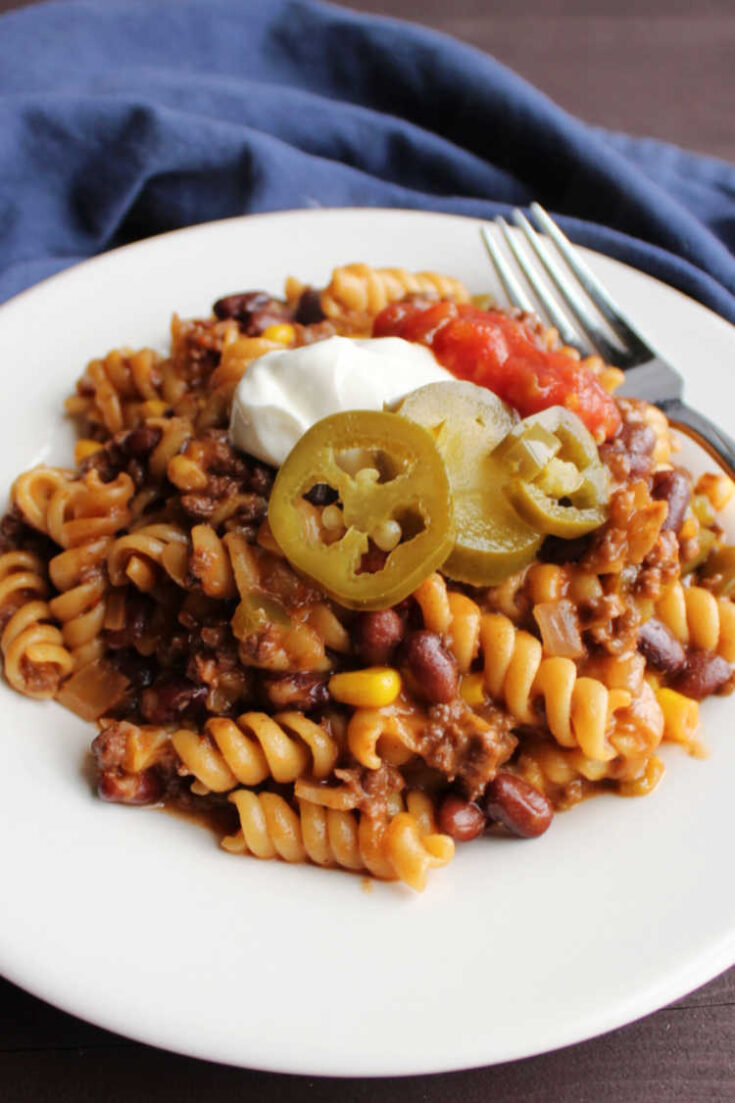 plate of taco pasta