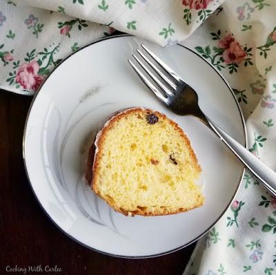 slice of babka with fork