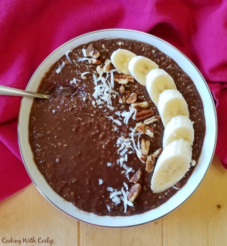 bowl of chocolate oatmeal topped with sliced bananas, coconut and pecans.